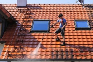 Technician at Work Cleaning Roof Tiles.