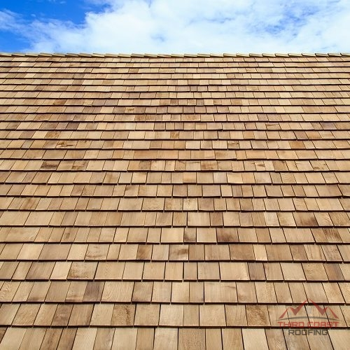 A Picture of Up Close Cedar Shake Roof.
